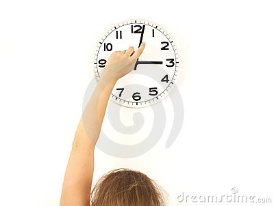 DST Daylight saving time, woman reseting clock