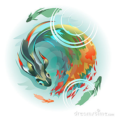 Duży ryba długi stubarwny ogon