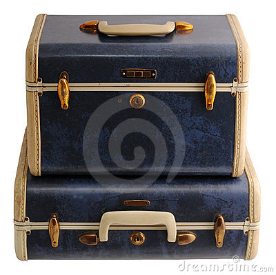 Duas malas de viagem azuis do vintage
