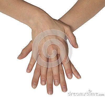 Duas mãos femininos
