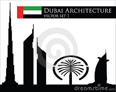 Dubai architecture vector set