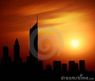 Dubai city at night Sheikh Zayed road at sunset