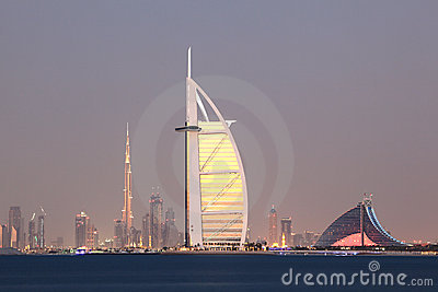 Dubai city skyline at dusk