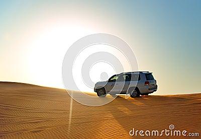 The Dubai desert trip in off-road car Editorial Stock Image