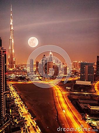 Free Dubai In Moonlight Stock Image - 32054921