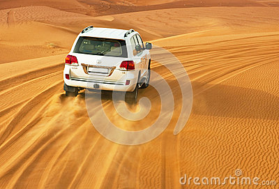 DUBAI - JUNE 2: Driving on jeeps Editorial Photography