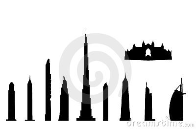 Dubai landmarks isolated