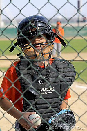 Dubai Little League Catcher Editorial Stock Image