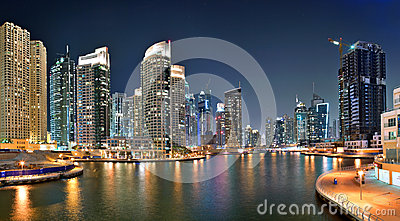 Dubai Marina is an artificial canal city Editorial Image