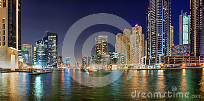 Dubai Marina is an artificial canal city Editorial Stock Image