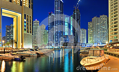 Dubai Marina is an artificial canal city Editorial Photography