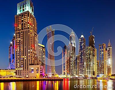 Dubai Marina, Dubai, UAE at Dusk Stock Photo