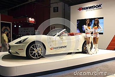 Dubai Motor Show NOVEMBER-14-2011 Hankook display Editorial Stock Image