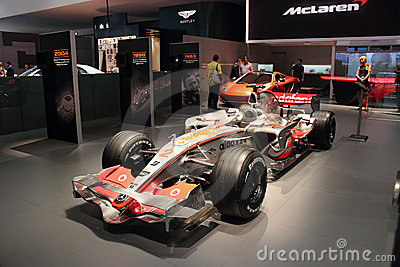 Dubai Motor Show NOVEMBER-14-2011 Mclaren display Editorial Photo