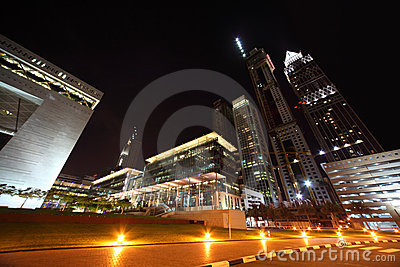 Dubai skyscrapers and Dubai Financial Centre Editorial Photo