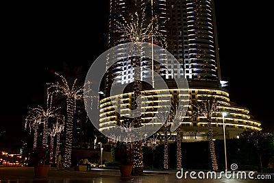 Dubai street at night