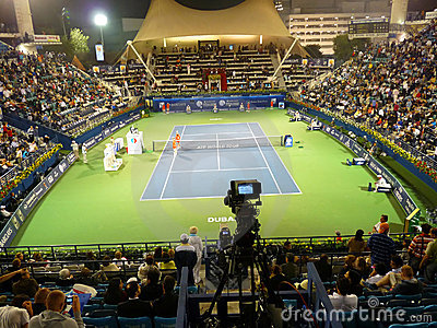 Dubai Tennis Stadium Court Editorial Photo