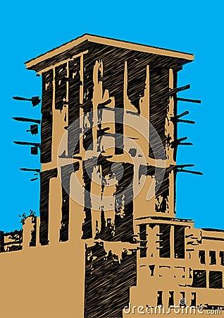 Dubai wind tower illustration scribble
