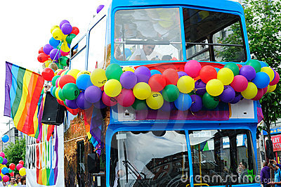 Dublin Bus participating in Dublin LGBTQ Pride Fes Editorial Photography