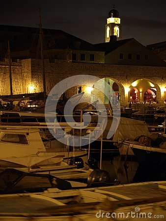 Dubrovnik harbor at night