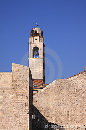 Dubrovnik historic clock tower and city walls