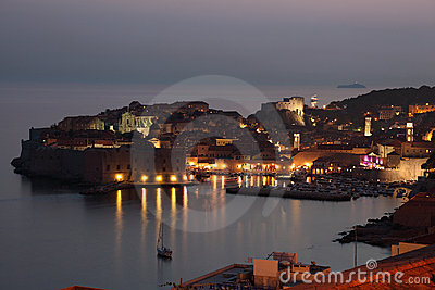 Dubrovnik at night, Croatia