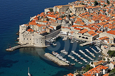 Dubrovnik, old harbour and Fort St John (Sv Ivana)