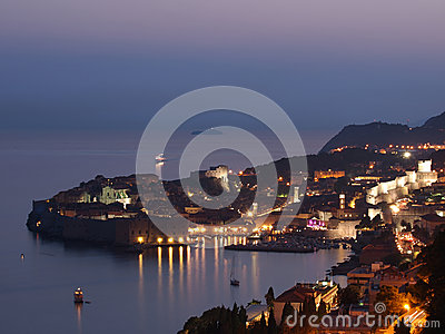 Dubrovnik på solnedgången, Kroatien