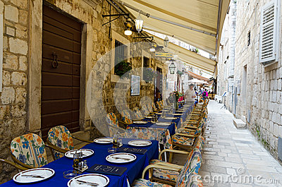 Dubrovnik. Restaurant on the Street Editorial Image