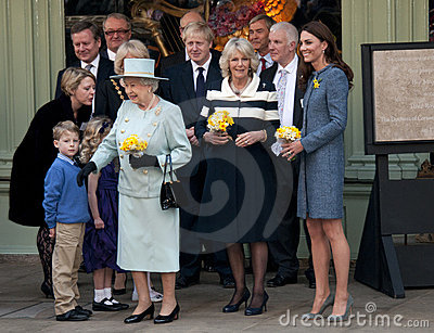 DUCHESS OF CORNWALL, QUEEN ELIZABETH II, DUCHESS OF CAMBRIDGE Editorial Stock Photo