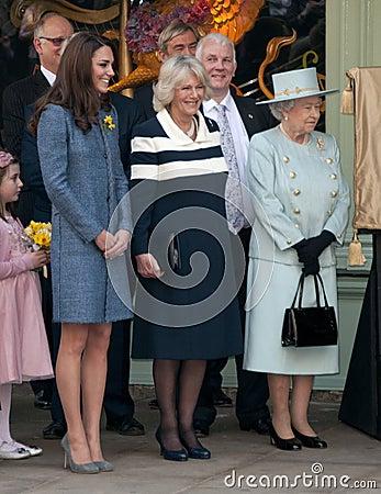 Duchess of Cornwall, Queen Elizabeth II, Duchess of Cambridge Editorial Photo