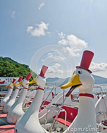 Free Duck Boats On Lake Toya, Hokkaido, Japan Royalty Free Stock Photography - 20921227