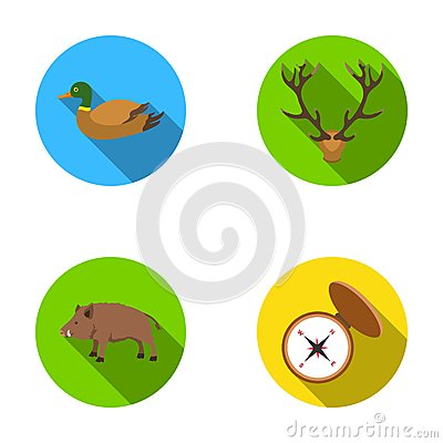 Duck, deer antlers, compass, wild boar.Hunting set collection icons in flat style vector symbol stock illustration web. Vector Illustration