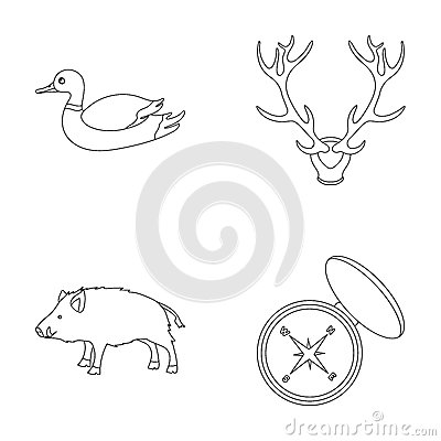 Duck, deer antlers, compass, wild boar.Hunting set collection icons in outline style vector symbol stock illustration Vector Illustration