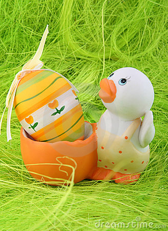 Duck and easter egg