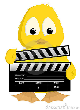Duckling holding clapperboard