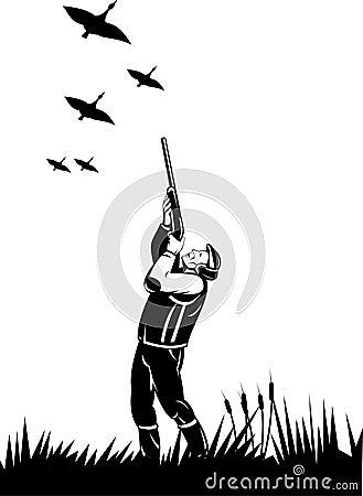 Duck hunter aiming shotgun