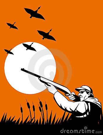 Free Duck Hunter Aiming Shotgun Royalty Free Stock Photos - 9889168