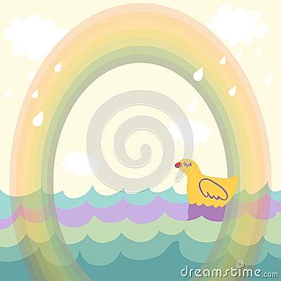 Duck under the rainbow