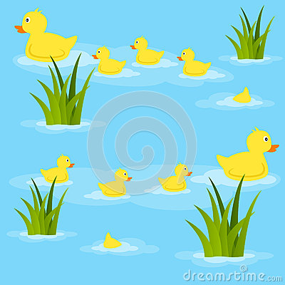 Ducks in Pond Seamless Pattern