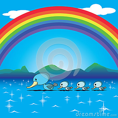 Ducks and rainbow
