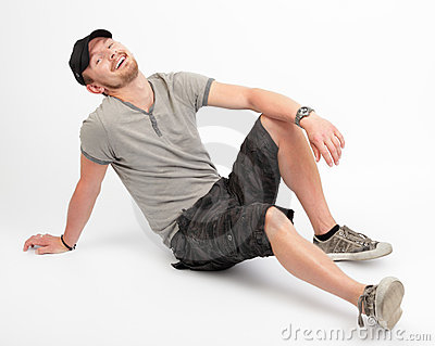 Dude laughing on floor