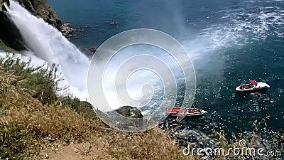 Duden Waterfalls in city of Antalya, Turkey. Summer stock video footage