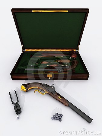 Duelling pistols in presentation case