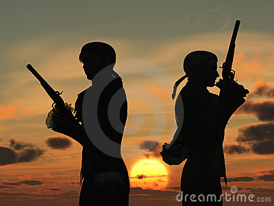 Duellists silhouetted against the rising sun
