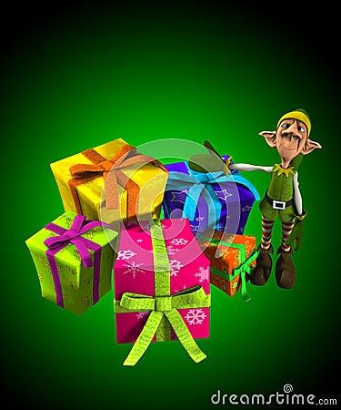Duende com lotes dos presentes