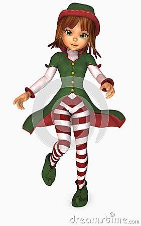 Duende do Natal da menina de Toon