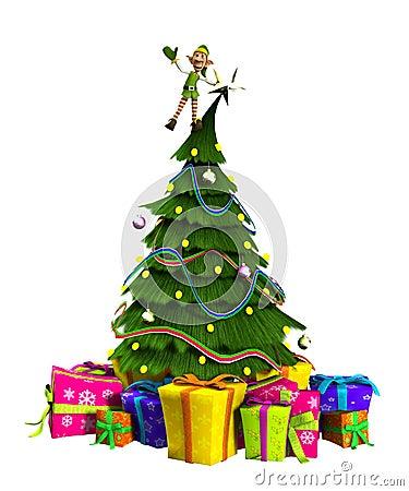 Duende en el árbol de navidad