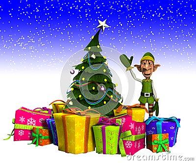 Duende y árbol de navidad con nieve