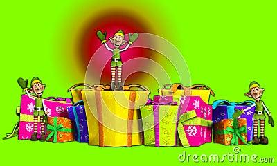 Duendes con los regalos de la Navidad